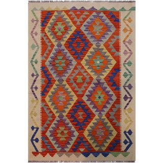 Contemporary Kilim Angela Beige/Rust Hand-Woven Wool Rug - 3'2 X 4'9 For Sale