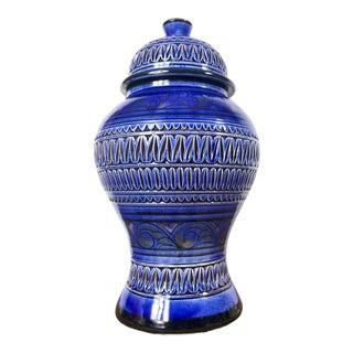 Vintage Italian Blue Glazed Terra Cotta Ginger Jar For Sale