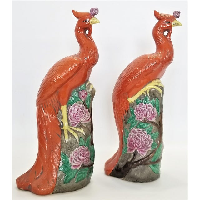 Large Chinese Ceramic Phoenix Sculpture Figurines - a Pair - Feng Shui - Asian Palm Beach Boho Chic Animals Birds Tropical Coastal For Sale - Image 4 of 13