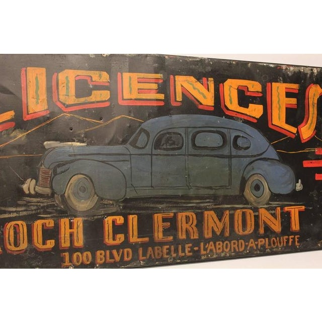 1930s Canadian Hand-Painted Car Licences Sign - Image 1 of 1