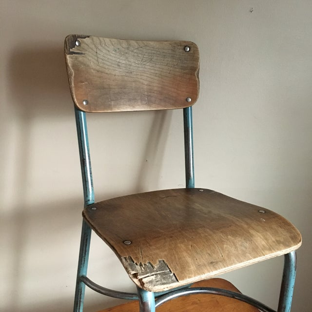 Industrial Vintage Wood & Metal School Chair For Sale - Image 9 of 9