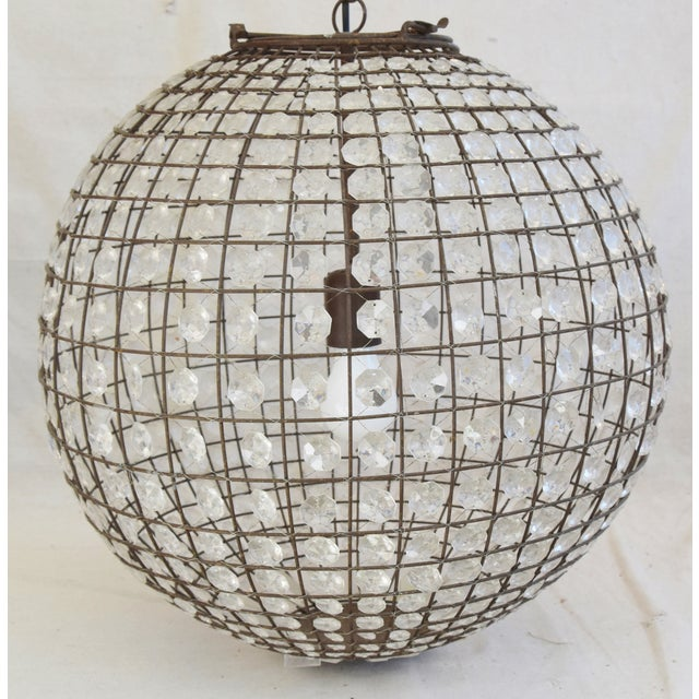 Contemporary Late 20th Century Crystal Prism Sphere Ball Chandelier For Sale - Image 3 of 13
