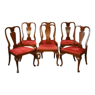 Hickory Chair Vintage Set of 6 Solid Mahogany Queen Anne Dining Chairs