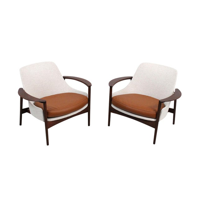 Selig Kofod-Larsen for Selig Sculptural Walnut Lounge Chairs - a Pair For Sale - Image 4 of 13