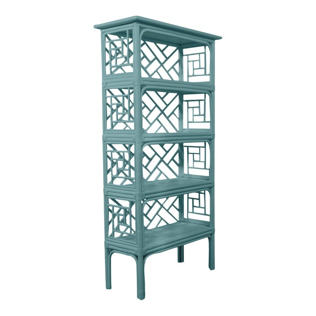 Chinoiserie David Francis Furniture for Chairish Chippendale Etagere, Aegean Teal For Sale - Image 3 of 4