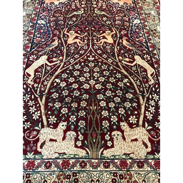 Antique Persian Tree of Life Kirman Lavar Rug - Image 2 of 3