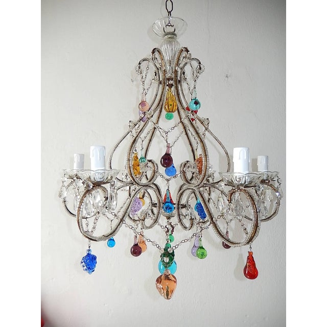 Italian Beaded Murano Colorful Fruit Chandelier, 1920 For Sale - Image 4 of 12