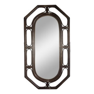 Large Oblong Octagonal Albini Style Mirror in Bamboo Rattan For Sale