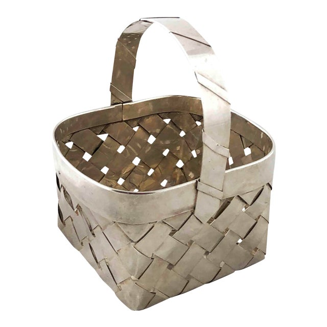 Vintage Sterling Silver Woven Basket With Handle For Sale