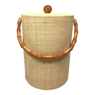 Mid 20th Century Bamboo and Grasscloth Ice Bucket For Sale