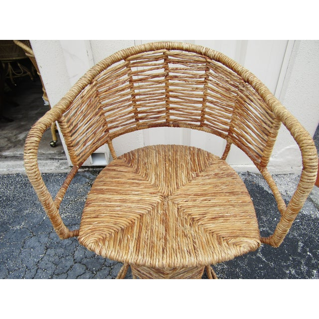 Vintage Woven Rattan Bar Stools / Counter Stools - a Pair For Sale - Image 9 of 12