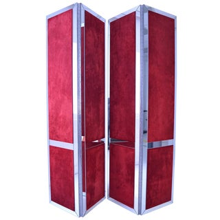 Custom Mirrored and Upholstered Screens - A Pair