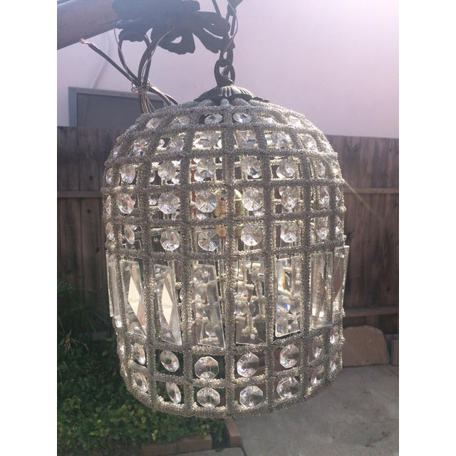 Small French Beaded Birdcage Chandelier For Sale - Image 5 of 5