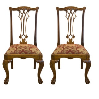 Boston Mills Solid Rosewood Tufft Chairs - a Pair For Sale