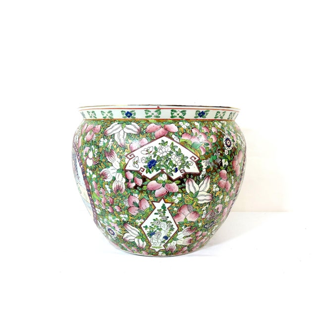 Mid 20th century goldfish bowl style planter - an very carefully hand painted and enamelled ceramic planter that has two...