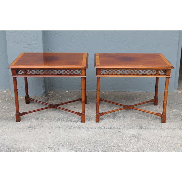 1970's Traditional Carved Wood Side Tables - A Pair - Image 2 of 11