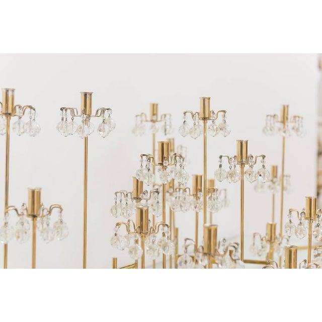 J. & L. Lobmeyr J. & L. Lobmeyr Brass and Swarovski Crystal Candlesticks - 15 Piece For Sale - Image 4 of 11