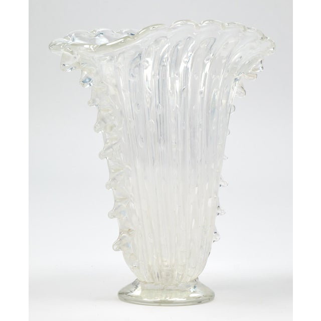 """Italian Crystal Clear Murano """"Pulegoso"""" Glass Vase For Sale - Image 3 of 9"""