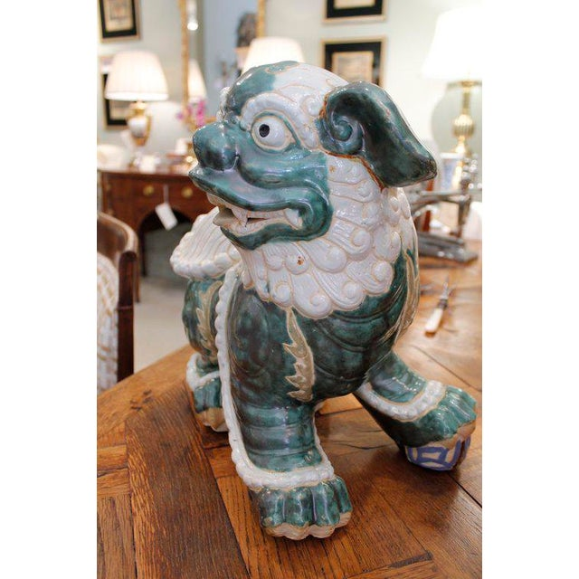 Large Glazed Green and Cream Terra-Cotta Chinese Foo Dogs - a Pair For Sale - Image 4 of 7