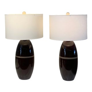 1970s Brown Ceramic Lamps - a Pair For Sale