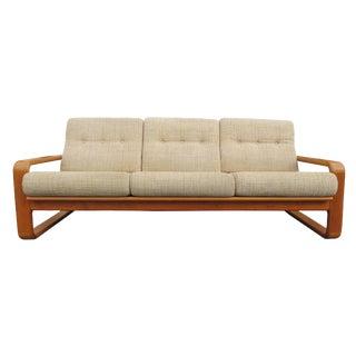 1970's Vintage Sled Leg Teak Frame Sofa For Sale