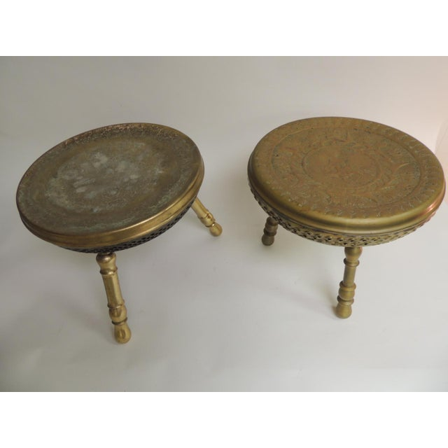 Boho Chic Pair of Vintage Low Round Tripod Indian Low Stools or Tables For Sale - Image 3 of 6