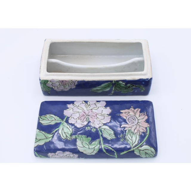 Antique Asian Ceramic Floral Peonies Jewelry Box For Sale - Image 10 of 13