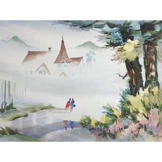 House in Fog Watercolor Painting For Sale
