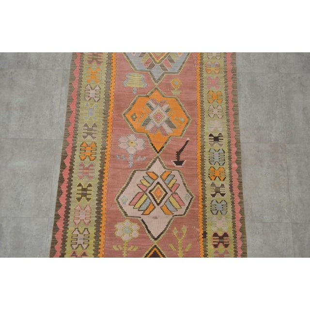 Turkish Hand Woven Shiny Tribal Runner Silk Rug - 3′10″ X 13′9″ For Sale In New York - Image 6 of 10