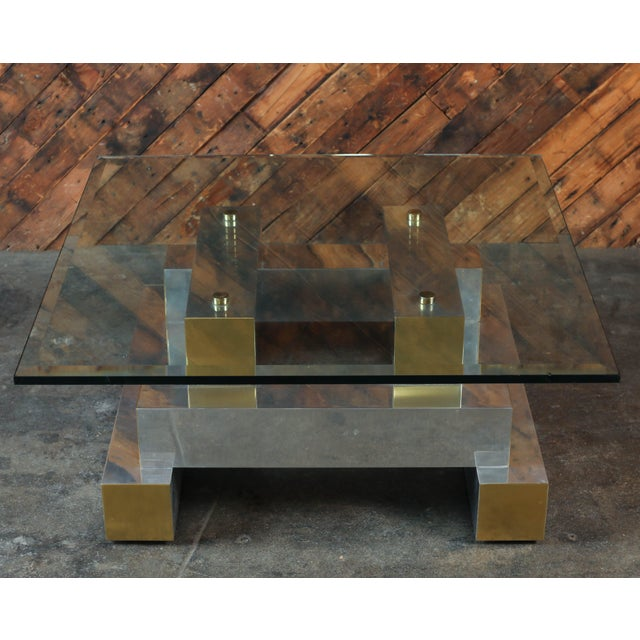 Paul Evans Style Vintage Chrome & Brass Coffee Table - Image 7 of 7