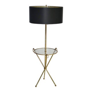 Brass Tripod Floor Lamp With Custom Shade For Sale