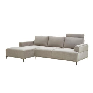 Pasargad Home Modern Lucca Sectional Sofa With Push Back Functional, Beige-Left Facing For Sale