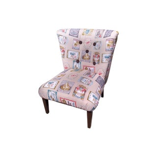 Vintage Slipper Chair with European Fabric For Sale