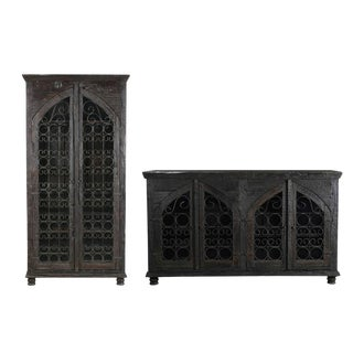Contemporary Black Mango Wood Sideboard & Wine Cabinet - Set of 2