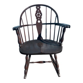 Early 20th Century Antique Solid Wood Rocker Rocking Chair For Sale