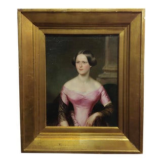 Beautiful Lady in Pink 19th Century Continental Oil Painting C.1820
