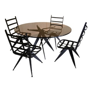 Mid-20th Century Modern Torch Cut Iron Sculptural Dining Chairs and Table - Set of 5 For Sale