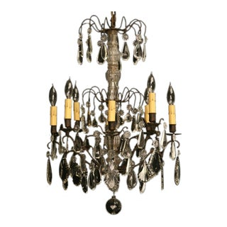 Stunning Vintage French Crystal 8 Light Chandelier For Sale