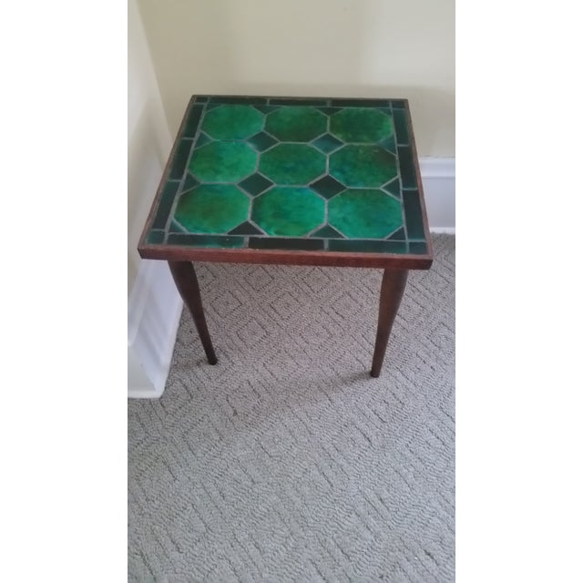 Mid Century Danish Tile Green Side Table - Image 2 of 7