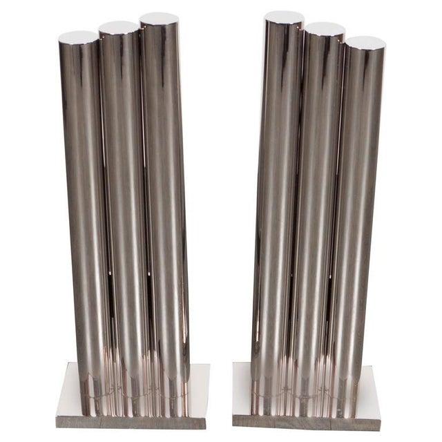 Metal Custom Art Deco Style Triple Column Andirons in Polished Nickel For Sale - Image 7 of 7