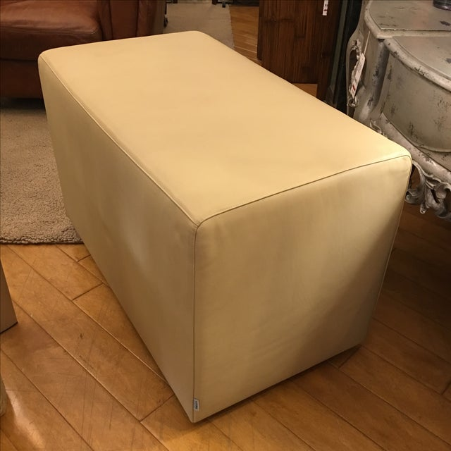 Living Divani Leather Cuboid Ottoman For Sale In San Francisco - Image 6 of 11