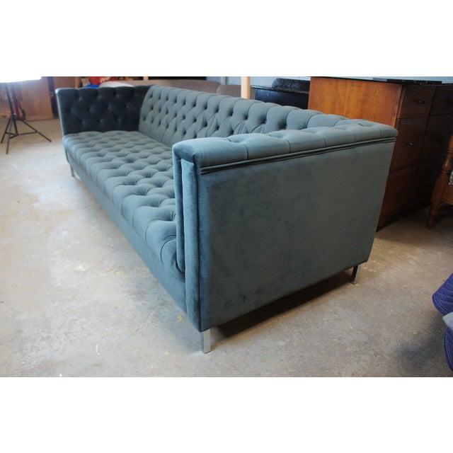 Metal Vintage Blue Tufted Modern Velvet Upholstered Sofa For Sale - Image 7 of 13