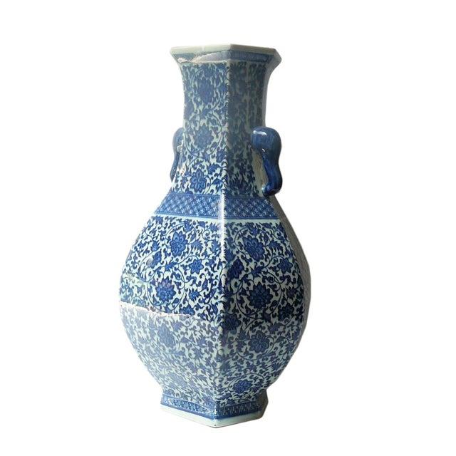 Blue & White Porcelain Hexagon Lotus Flower Vase For Sale - Image 4 of 7