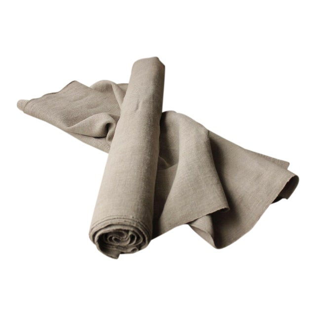 Antique Gray Putty Toned Linen Fabric - 7.3 Yards X 27 Inches For Sale