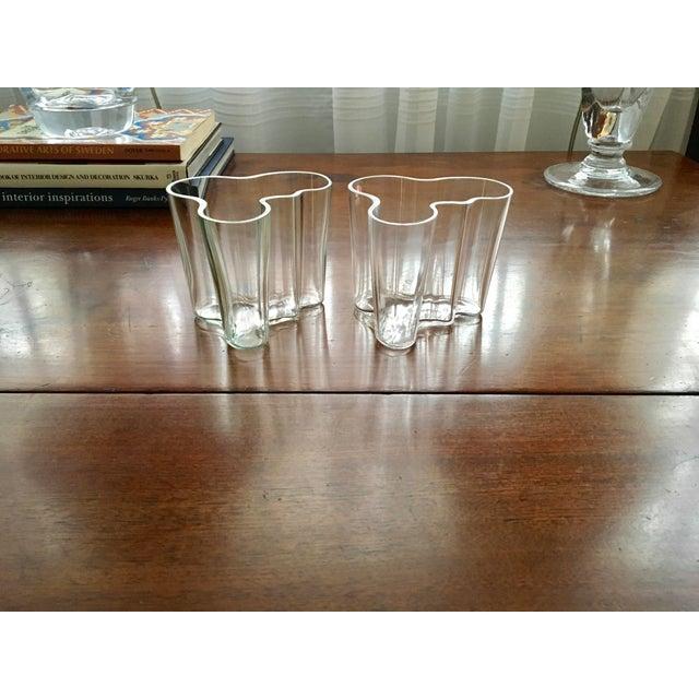 1990s Iittala AlvarAalto Savoy Wave Modernist Vases - a Pair For Sale - Image 5 of 9