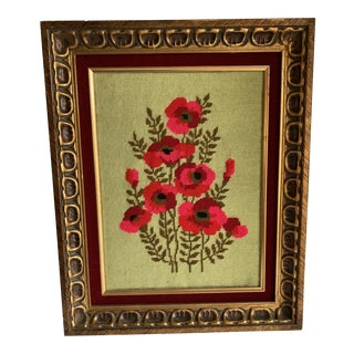Vintage Embroidered Needlepoint Red Poppy Wall Art For Sale