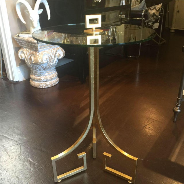 Greek Key Motif Gold Side Table - Image 3 of 6