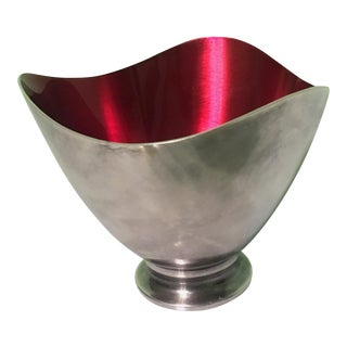 Danish Modern Silverplate and Red Enamel Bowl