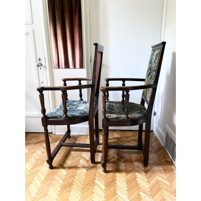 Brown Charles II Revival 19th Century Walnut Arm Chairs With 17th Century Verdure Tapestry Upholstery - a Pair For Sale - Image 8 of 13
