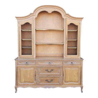 1960s Solid Cherry French Provincial 2 Part Dining Room China Cabinet Hutch For Sale